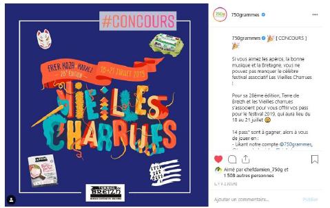Publication instagram jeu concours